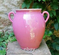 Rarissimus Grand Pot À Confit En Grès À Glaçure Rose Du Xixème Siècle