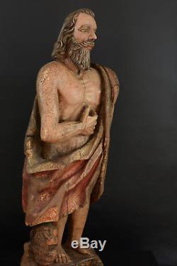 Religious Statue Medieval High Gothic Saint Apotre Golden Wood16th X 2