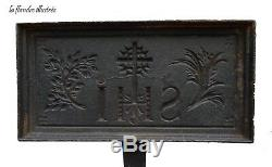 Religious Waffle I H S Wrought Iron Mold 19th To Forget Waffle