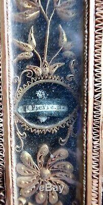 Reliquary Eighteenth Cross, Golden Paperolles Under Glass, Cruciform Reliquary