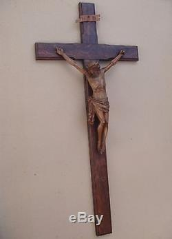Remarkable Large Crucifix Carved Wood Late Nineteenth Century