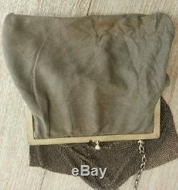 Sac De Bal Sterling Silver Minaudiere Silver Very Good Condition + Lining Fabric