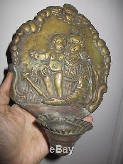 Saint-enrique Wall Clock, High-era 17-18th Christ In Majesty And Virgin Brass Repoussé