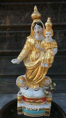 Santibelli Virgin Of Marseille Xixth Polychrome Terracotta