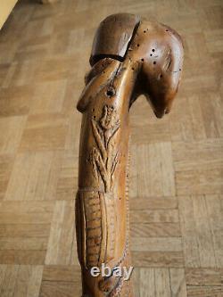 Sculpted Wood Cane Vigneron Art Populaire XIX