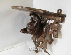 Shelf Old Wooden Carved Wolf Black Forest Folk Art