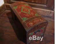 Small Polychrome Chest Bulging Chest From Alsace In Hand Painted Christmas Tree