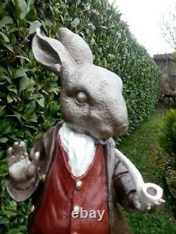 Statue In Cast Iron Rabbit In Period Clothing Painted Exterior/inner Decoration