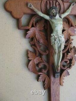 Stunning And Rare Large Large Oak Crucifix Carved In Late 19th Century