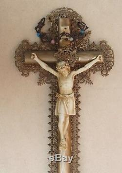 Superb And Rare Crucifix Napoleon III And Crown Of Thorns Late 19th Century