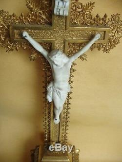 Superb And Rare Golden Crucifix With Gold Leaf Nineteenth Century
