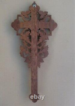 Superb And Rare Grand Crucifix Wall Oak Carved Fine XIX Century