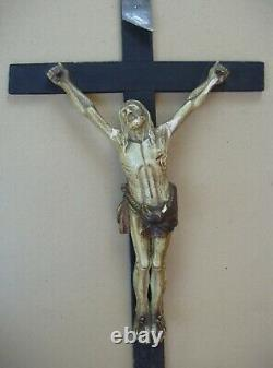 Superb And Rare Large Carved Wall Crucifix Late Eighteenth / Early Nineteenth S