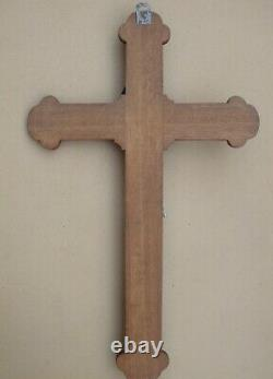 Superb And Rare Large Carved Wooden Wall Crucifix Early XIX S. 80 CM
