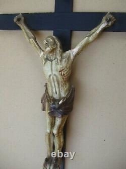 Superb And Rare Large Carved Wooden Wall Crucifix Late XVIII / Early XIX S
