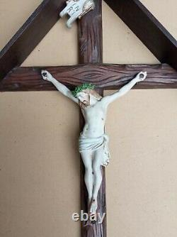 Superb And Rare Large Carved Wooden Wall Crucifix With Its Early XX S Roof