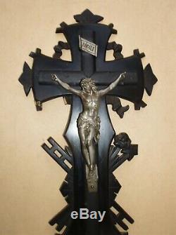 Superb And Rare Large Crucifix Napoleon III Black Lacquered Wood