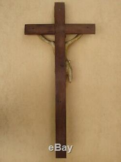 Superb And Rare Large Crucifix Wall Carved Wood End XVIII / Early XIX S