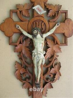 Superb And Rare Large Wall Crucifix In Oak Carved Late XIX Century