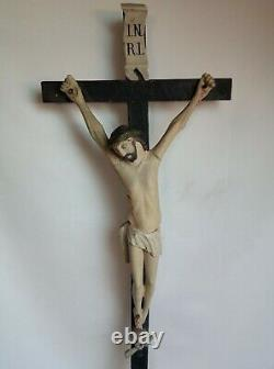 Superb And Rare Large Wooden Crucifix Carved Late XVIII / Early XIX S. 77 CM