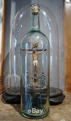 Superb Bottle Of Passion Wood Carved Folk Art Religion