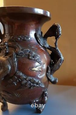Superb Bronze Vase Japan Japanese Era Meiji Decor Phnix And Plant 19 Th