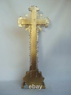 Superb Golden Crucifix With Gold Leaf At The End Of The 19th Century