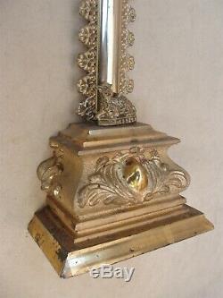 Superb Golden Crucifix With Gold Leaf- Louis-philippe Period