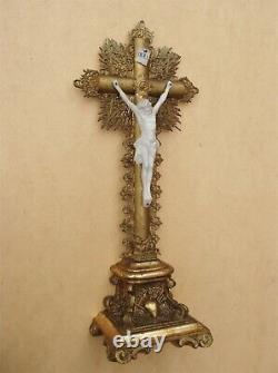 Superb Golden Jansenist Crucifix With Golden Leaf Period Louis-philippe