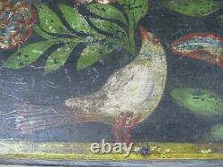 Superb Grand Wedding Chest Normand Debut XIX Wood Painted Paper Rouen