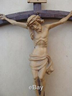 Superb Large Crucifix Carved Wood Early Twentieth Century