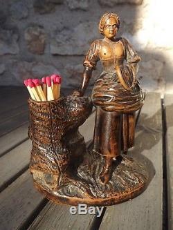 Superb Old Pyrogen Wood Finely Carved Woman Folk Art Nineteenth Lime