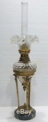 Superb Small Bronze Empire Oil Lamp Crystal Top Baccarat Nineteenth