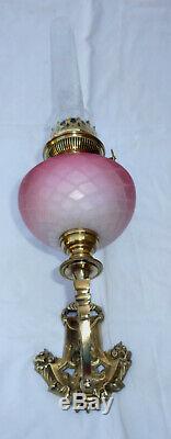 Superb Wall Oil Lamp Bronze Pink Top (baccarat) Nineteenth