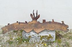 Superbe Grand Port Manteau Mural Foret Noire Birds Covery Eyes Verre 19th