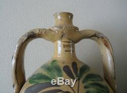 Two Large Jug Pottery Glazed Earthenware Flower Earrings