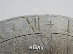 Very Nice Circular Sundial 19th Slate With Lilies