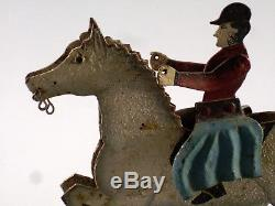 Very Old Toy Balancier, Painted Sheet Metal, Horse And Rider, Xix, 27 CM