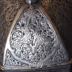 Very Rare Persian Antique Qajar Qalamzani Silver Box Islamic / C + Provenance