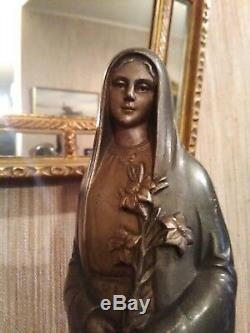 Virgin Bronze Statuette By Jean Lormier Art Deco