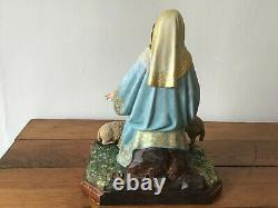 Virgin Satut To The Old Child Style 18 Th Sculpture On Polychrome Wood