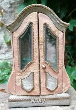 Vitrine Miniature Antique Glass Cabinet Galbee Capitonnee Louis XV Style