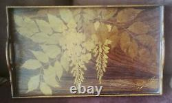 Wood Service Tray Marked Art Nouveau Emile Gallé 19th-xxe