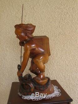 Wooden Statue Of A Vietnam M'hong Serpent Hunter 45 CM High