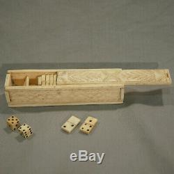 Working Pontoon Box 18th Bones Dominoes Prison Ship Work Set Of Bone Dominoes