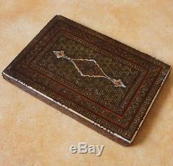 19th C Rare Persian Antique Islamique Khatam-Kari Boite Miroir Qajar Qalamdan