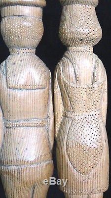 4 Sujets Famille Marin Chateaubriant Art Populaire Bois Sculpté Fin 19ème A544
