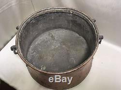 ANCIEN Grand CHAUDRON EN CUIVRE à poignée marmite faitout 30 litres
