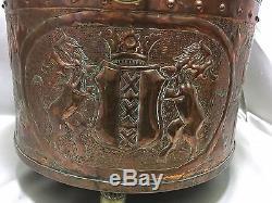 Ancien Grand CACHE POT EN CUIVRE jardinière décoré bateau, moulin, lions