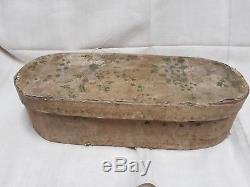 Ancienne boite de dentellière coffret papier peint art populaire Auvergne XVIIIe
